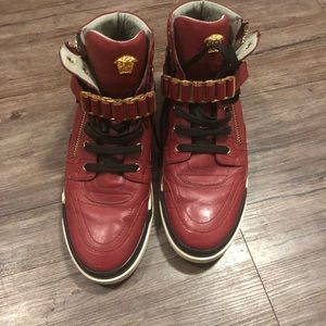 Gold and Red Buckled Versace Shoes Size 12